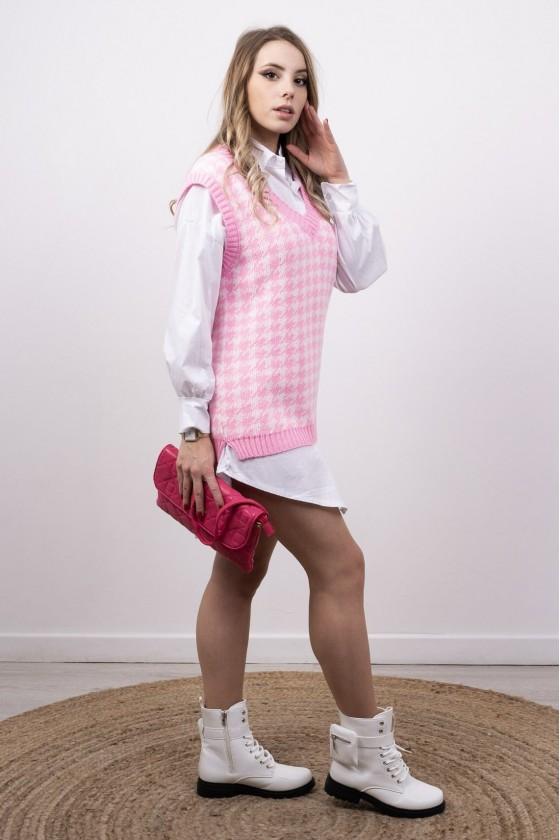 Pull en maille sans manches motif pied de poule rose