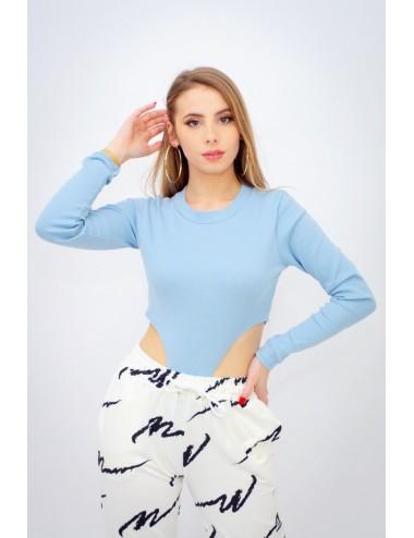 Body côtelé échancré bleu